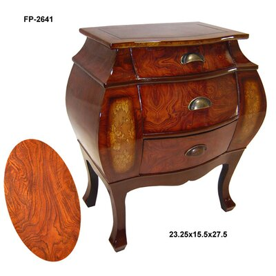 Cheungs Wooden 3 Drawer Curved Cabinet with Scoop Handles
