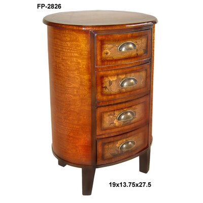 Cheungs Wooden Cabinet Flower Print 4 Drawer Oval Cabinet