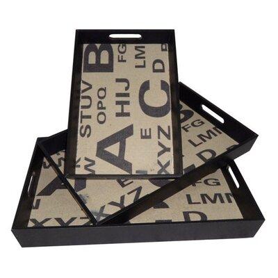 Cheungs 3 Piece Alphabet Rectangular Serving Tray Set