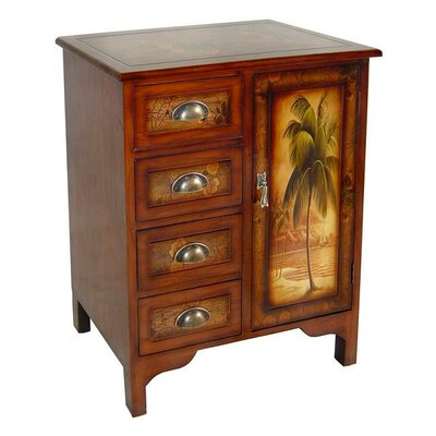 Wooden Palm Tree Design 1 Door Cabinet by Cheungs