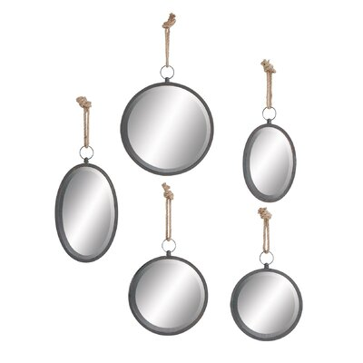 5 Piece Metal Mirror with Rope Set by DHP