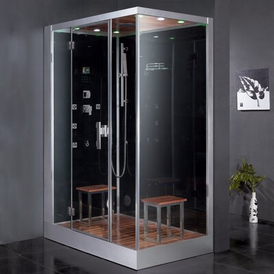 "Platinum 59"" x 35.4"" x 89.2"" Pivot Door Steam Shower with Left Side Configuartion Product Photo"