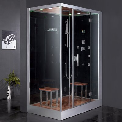 "Platinum 59"" x 35.4"" x 89.2"" Pivot Door Steam Shower with Right Side Configuration Product Photo"