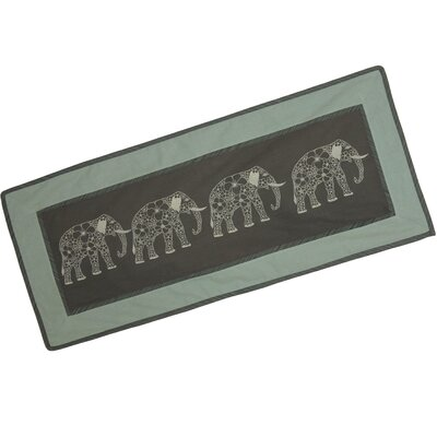 Thanyarat Sananpanich Artisan Four Floral Elephants Cotton Table Runner by Novica
