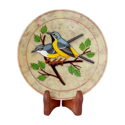 The Ganesh Sharma Artisan Bird Chitchat Soapstone Plate by Novica