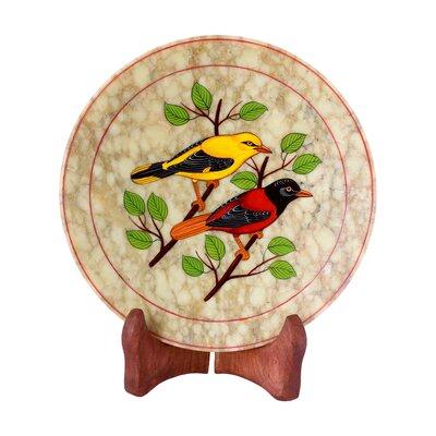 The Ganesh Sharma Artisan Sunset Birds Soapstone Plate by Novica