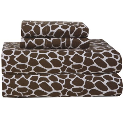 Heavy Weight Giraffe Flannel Sheet Set by Pointehaven