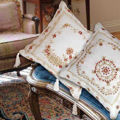 Beaded Flower Design Embroidered Throw Pillow by Violet Linen