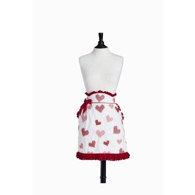 Violet Linen Cross Stitch Hearts Half June Apron