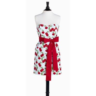 Kitchen Cherry Bib Strapless Apron by Violet Linen