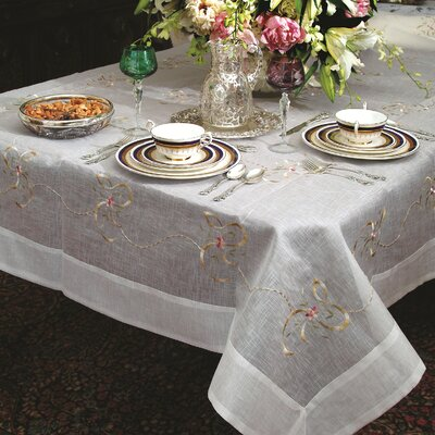 Beads and Bows Embroidered Tablecloth by Violet Linen