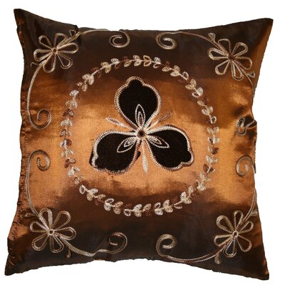 Silky Ornate Embroidered Floral Decorative Throw Pillow by Violet Linen