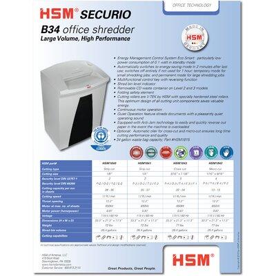 HSM of America,LLC HSM SECURIO B34c Cross-Cut Shredder, 22-24 Sheets, 26.4 Gallon Capacity