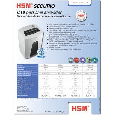 HSM of America,LLC HSM SECURIO C18c Cross-Cut Shredder, 10-11 Sheets, 6.6 Gallon Capacity