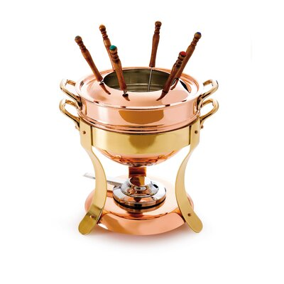 M'tradition Tinned Copper Fondue Set with Bronze Handles by Mauviel