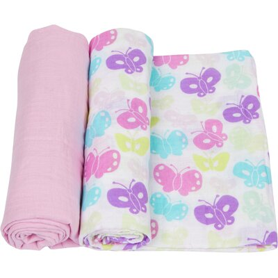 Butterflies 2 Piece Swaddle Blanket Set by Miracle Blanket