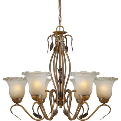 Forte Lighting 6 Light Chandelier with Umber Ice Glass Shades
