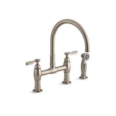 Kohler Parq Two Hole Deck Mount Bridge Kitchen Sink Faucet With 9 Gooseneck Matching Finish