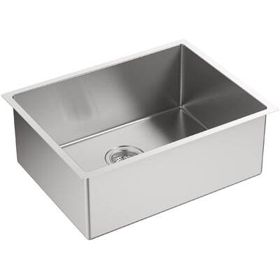 "Strive 24"" x 18-1/4"" x 9-5/16"" Under-Mount Single Bowl Kitchen Sink with Basin Rack Product Photo"