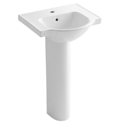 "Veer 21"" Pedestal Bathroom Sink with Single Faucet Hole Product Photo"