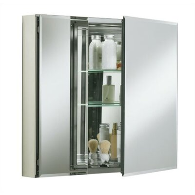 "30"" W x 26"" H Aluminum Two-Door Medicine Cabinet with Mirrored Doors, Beveled Edges Product Photo"