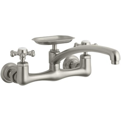 Antique Two-Hole Wall-Mount Kitchen Sink Faucet with 8