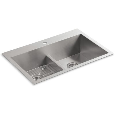 "Vault 33"" x 22"" x 9-5/16"" Smart Divide Top-Mount/Under-Mount Double-Equal Bowl Kitchen Sink with Single Faucet Hole Product Photo"