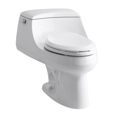 San Raphael One-Piece Elongated 1.6 GPF Toilet with Ingenium Flush Technology, Left-Hand Trip ...