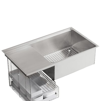 "Stages 33"" x 18-1/2"" x 9-13/16"" Under-Mount Single-Bowl with Wet Surface Area Kitchen Sink Product Photo"