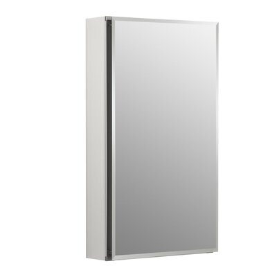"15"" W x 26"" H Aluminum Single-Door Medicine Cabinet with Mirrored Door, Beveled Edges Product Photo"