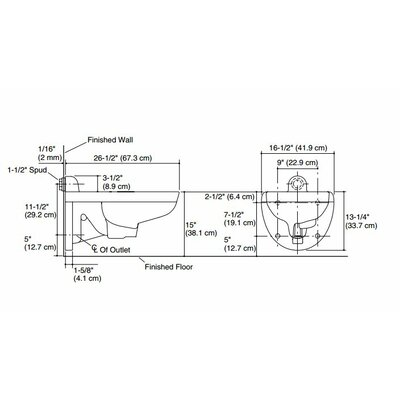 Kohler Kingston Wall-Mounted 1.6 or 1.28 GPF Flushometer Valve Toilet Bowl with Rear Inlet, Requires Seat