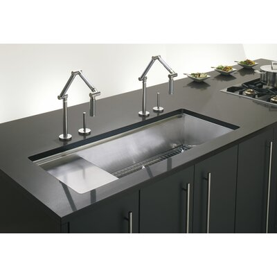 "Stages 45"" x 18-1/2"" x 9-13/16"" Undermount Single-Bowl with Wet Surface Area Kitchen Sink Product Photo"