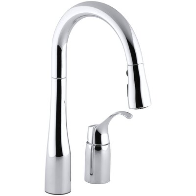 """Kohler Simplice Two-Hole Kitchen Sink Faucet with 14-3/4"""" Pull-Down Swing Spout, Docknetik Magnetic Docking System, and A 3-Function Sprayhead Featuring The New Sweep Spray"""
