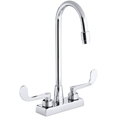 Kohler Triton Centerset Commercial Bathroom Sink Faucet with Gooseneck Spout and Wristblade Lever Handles, Drain Not Included