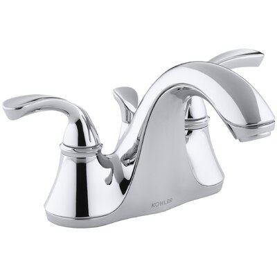 Forté Centerset Bathroom Sink Faucet with Sculpted Lever Handles and Plastic Drain by Kohler
