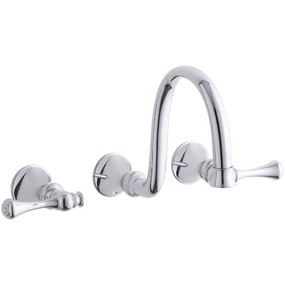 """Revival Wall-Mount Bathroom Sink Faucet Trim with Traditional Lever Handles and 9"""" Spout, Requires Valve Product Photo"""