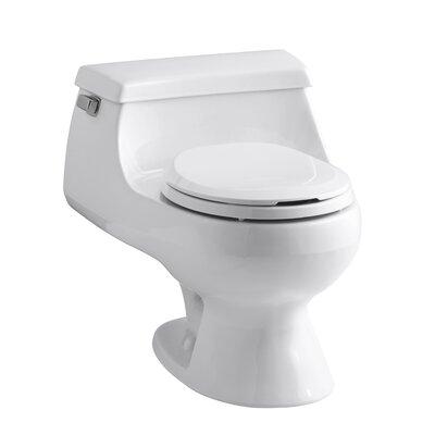 Rialto One-Piece Round-Front 1.6 GPF Toilet with Rim Jet Flush Technology, Left-Hand Trip Lever ...