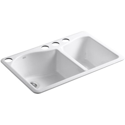 """Lawnfield 33"""" x 22"""" x 9-5/8"""" Under-Mount Large/Medium Double-Bowl Kitchen Sink with 4 Oversize Faucet Holes Product Photo"""