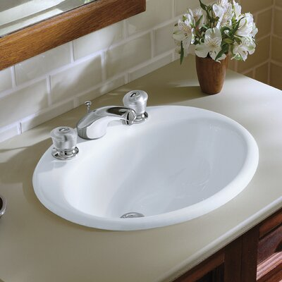 "Kohler Farmington Drop-In Bathroom Sink with 8"" Widespread Faucet Holes"