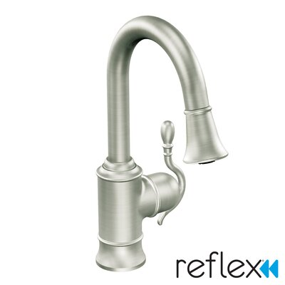 Woodmere Single Handle Single Hole Pull-Out Kitchen Faucet by Moen