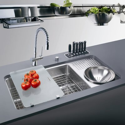 "34.06"" x 17.75"" Culinary Work Center Kitchen Sink with Drain Board Product Photo"