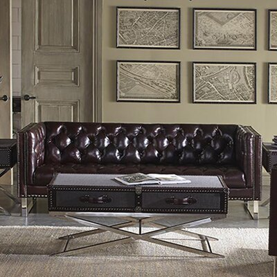 Bordeaux Leather Sofa by Lazzaro Leather