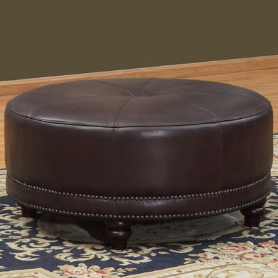 Cindy Round Leather Ottoman by Lazzaro Leather