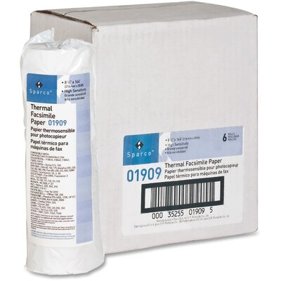 "Sparco Products Fax Paper, 1"" Core, ""H"" Sensitivity, 8-1/2""x164', White"