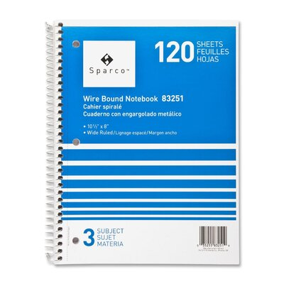 """Sparco Products Notebooks, Wirebound, 3 Subject, 10-1/2""""x8"""", Wide Ruled, 120SH"""