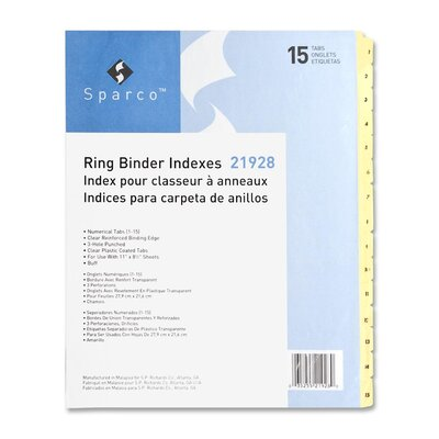 """Sparco Products Plastic Tab Indexes, 3HP, 1-15, 11""""x8-1/2"""", 24/ST, Buff"""