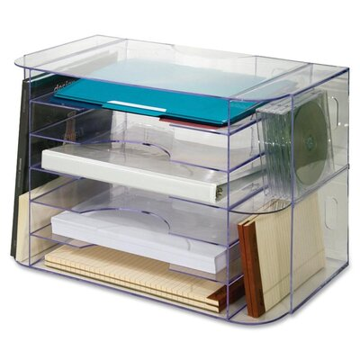 Sparco Products Sparco 6-Divider Jumbo Desk Sorter, Clear