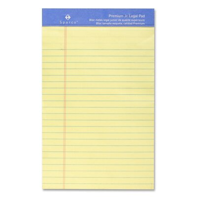 """Sparco Products Perforated Junior Legal Pad, 5""""x8"""", Canary, 50 Sheets"""