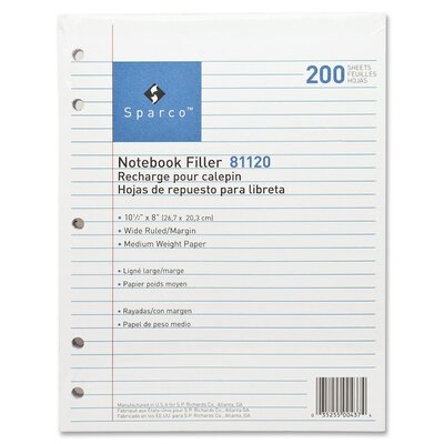 "Sparco Products Filler Paper, 5-HP, Wide Ruled w/Margin Line, 16 lb, 10-1/2""x8"", 200 Sheets, White"
