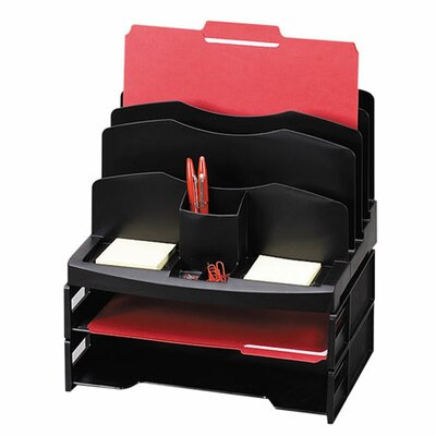 """Sparco Products Organizer w/2 Letter Trays, 9 Compartments, 13""""x10""""x8-5/8, BK"""
